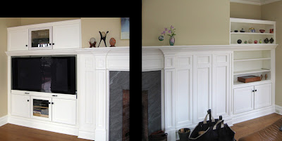 Built in Media Cabinet with TV Swivel and Alcove Display Shelves, Westchester, NY
