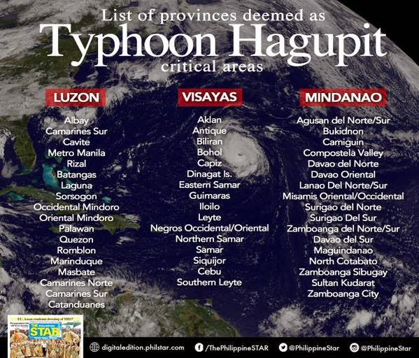 Typhoon 'Ruby' with International name 'Hagupit'  possible affected places in Philippines