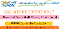 Hindustan Aeronautics Limited Recruitment 2017– Staff Nurse, Pharmacist