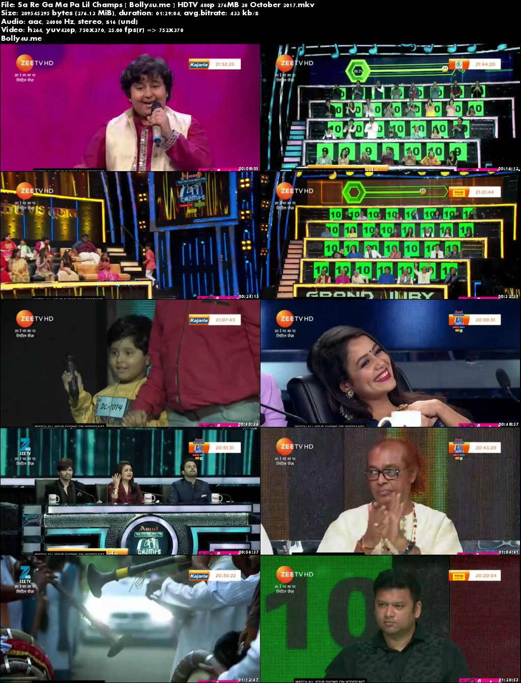 Sa Re Ga Ma Pa Lil Champs HDTV 480p 250MB 28 October 2017 Download