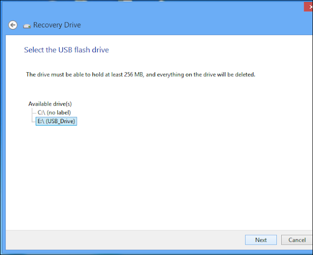 USB Flash Drive for Recovery Drive