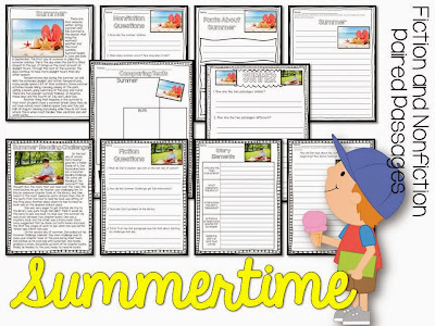 paired passages for the summer- summer reading activities for june and july