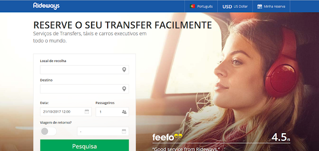 Site de Transfers Rideways na Califórnia e no mundo