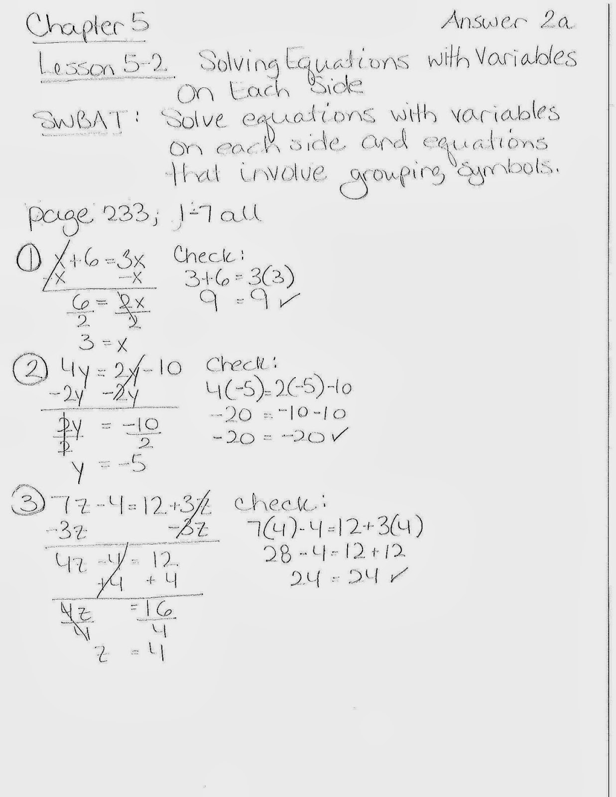 Math With Mrs Rooks Lesson 5 2 Solving Equations With