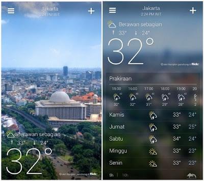 aplikasi perkiraan cuaca yahoo weather