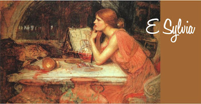 a banner for ESylvia.com website based on The Sorceress by John William Waterhouse