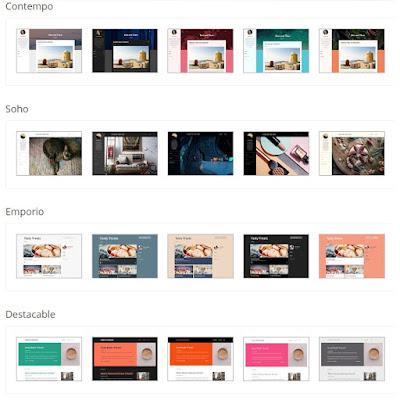 Estilos de diseño web adaptable ofrecidos para las plantillas de Blogger: Contempo, Soho, Emporio y Destacable