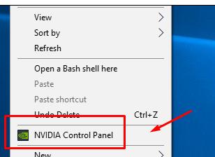 Отваряне на NVIDIA Control Panel