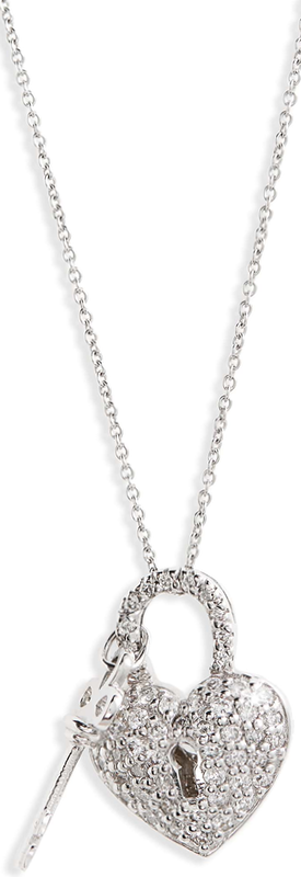 Roberto Coin Diamond Heart Lock Pendant Necklace