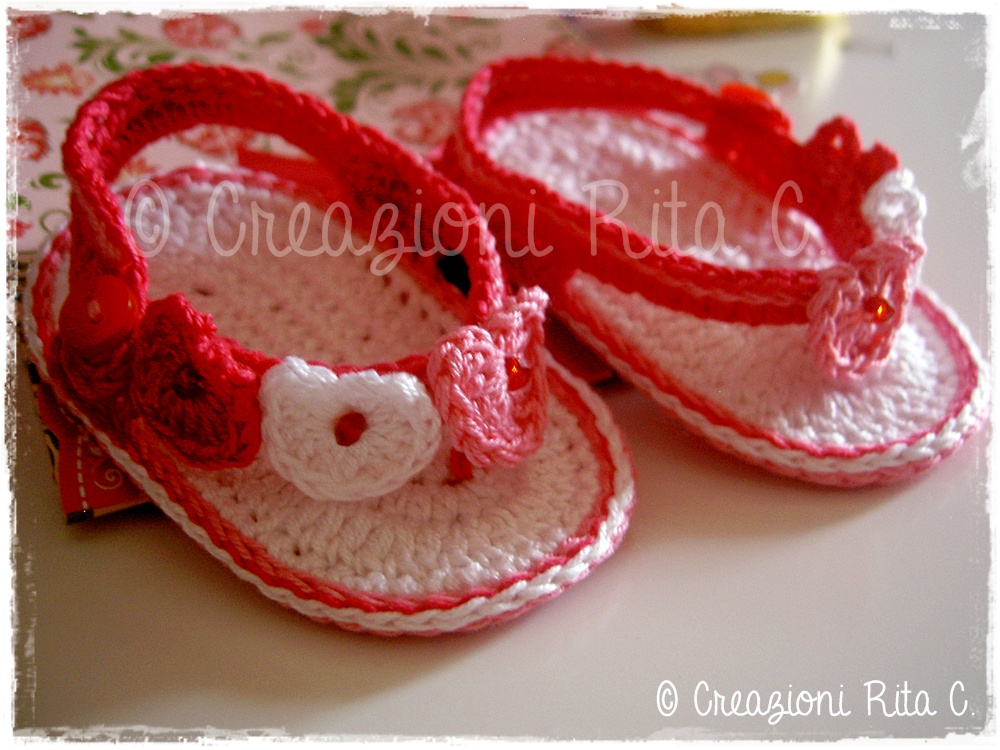 Creazioni Rita C Only Handmade Infradito Cuoricini Baby Baby