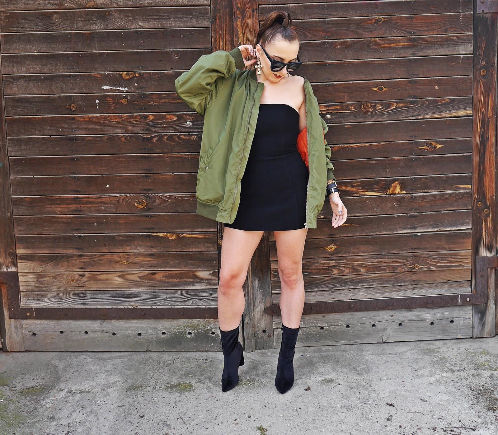 czarna sukienka h&m botki skarpetkowe renee zielona bomberka karyn blog modowy