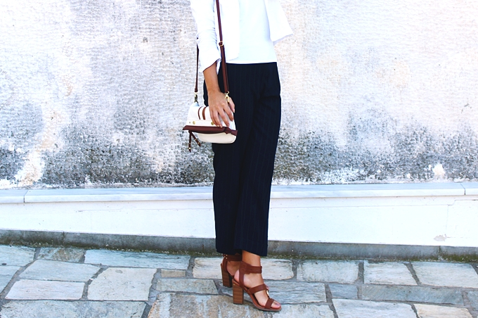 Wardrobe basics. Pinstripe cropped cigarette trousers.Must-have pants.Best classic looks.
