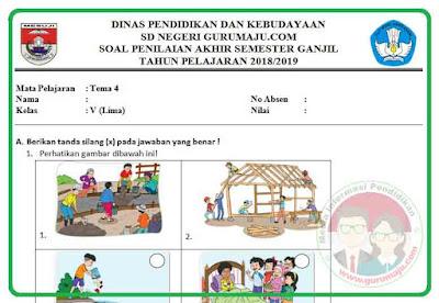 Soal UAS / PAS Kelas 5 Tema 4 Kurikulum 2013 Revisi 2018