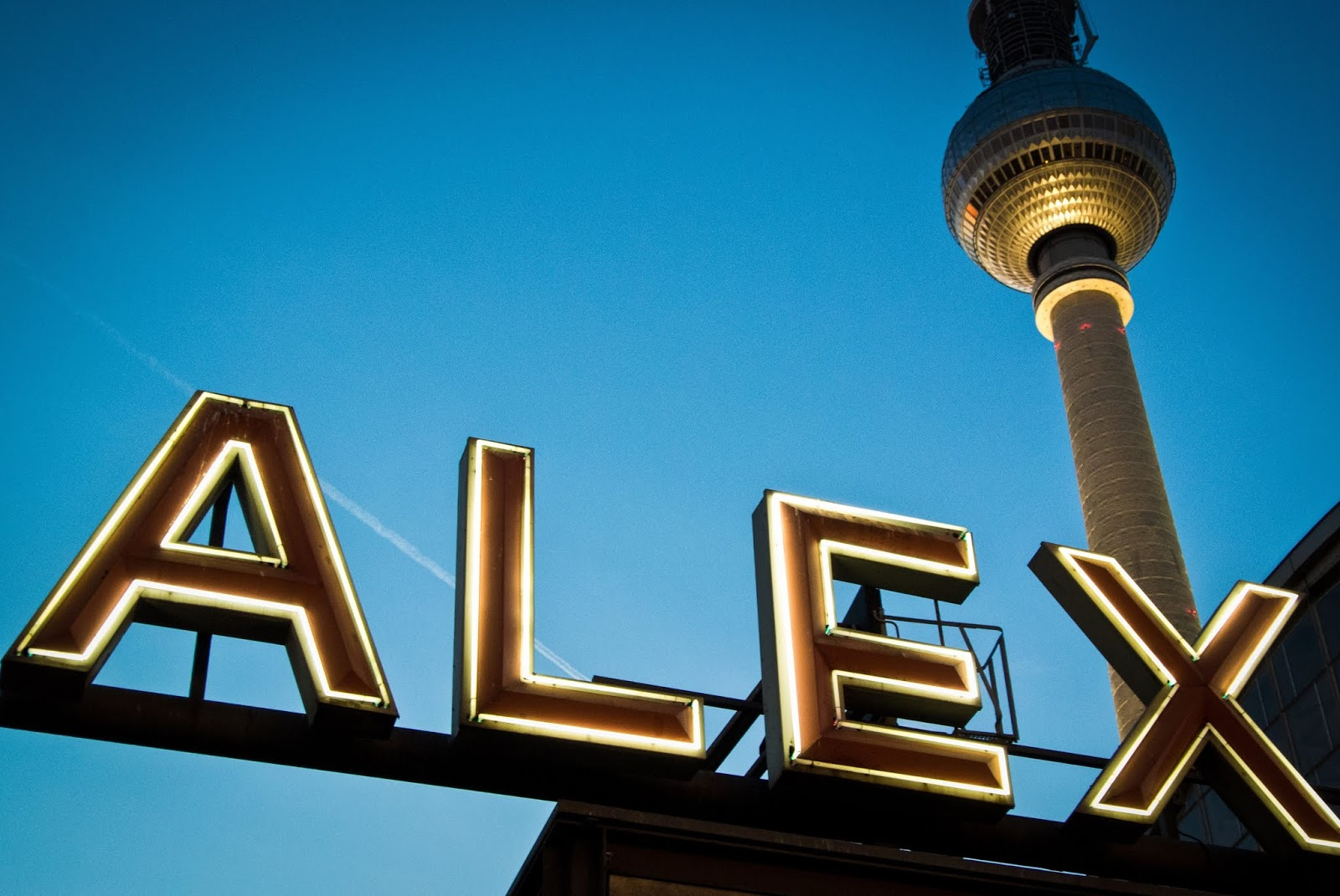 Alexandraplatz sign and tv tower