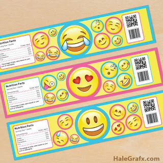emoji water bottle labels
