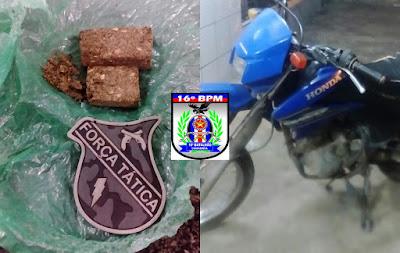 Drogas e moto usada em prática de assalto são apreendidas em Chapadinha por policiais militares