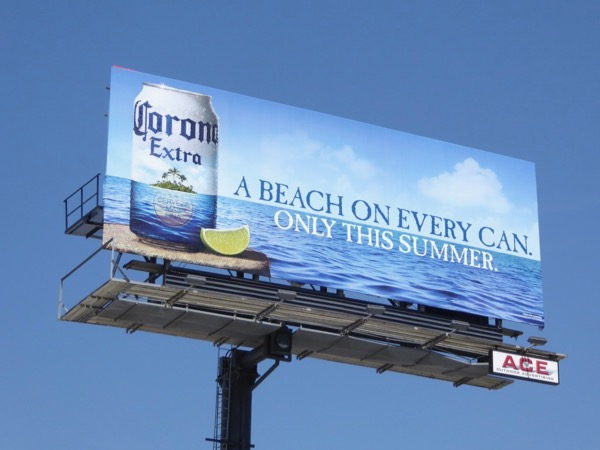 Corona beach on every can billboard