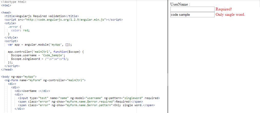 angularjs required validation using ng-pattern   Angular