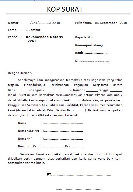 D4t4 Kul14h Surat Rekomendasi Notaris