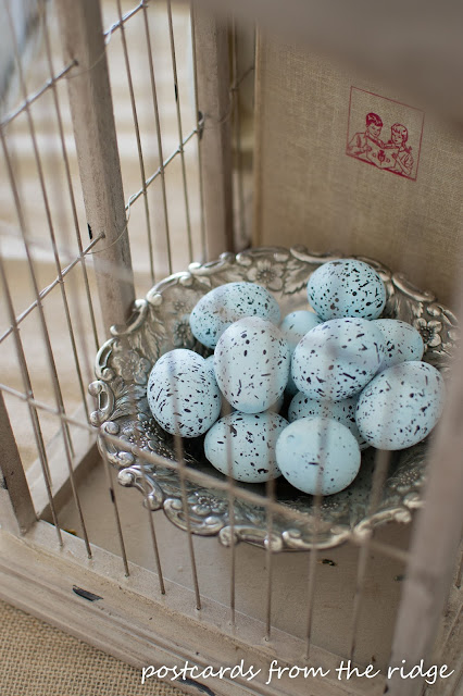 Blue Ceramic Robin Eggs in a Vintage Silver Bowl. Lots of pretty spring decor ideas here. Postcards from the Ridge.