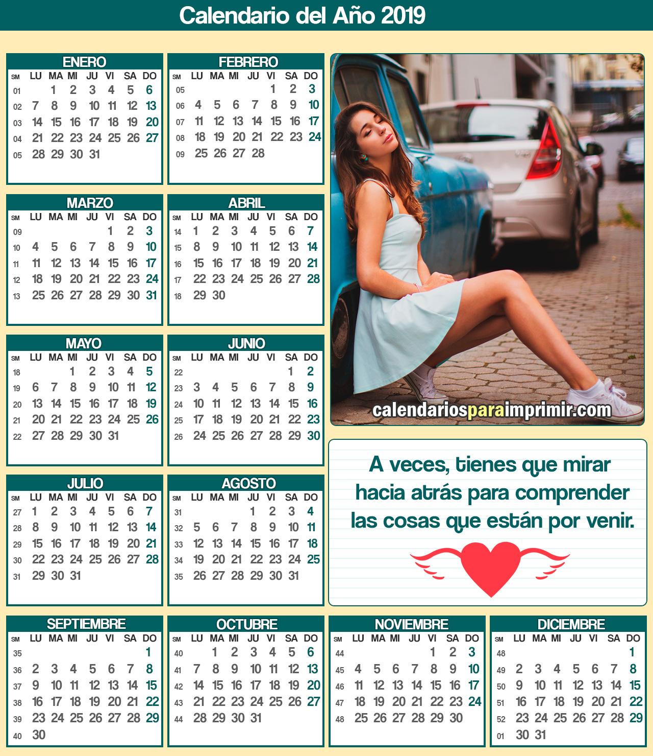 calendarios 2019 para imprimir reflexiones
