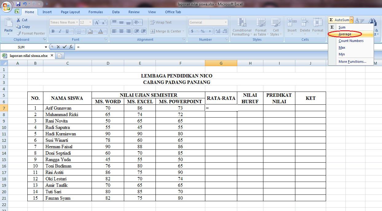 rumus, microsoft, excel, if, average, ujian, siswa, perhitungan, penjumlahan, predikat, keterangan, huruf, rata