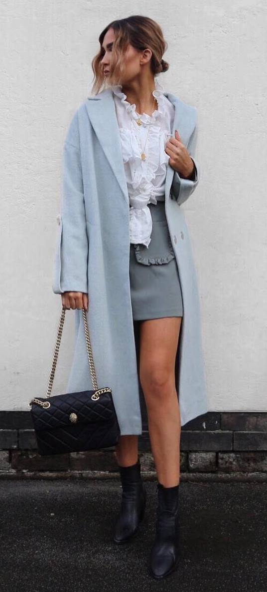 fashion trends: coat + blouse + skirt + bag + boots
