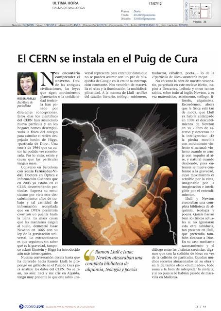 El artículo de opinión de Roser Amills en el dossier de prensa del Obispado de Mallorca