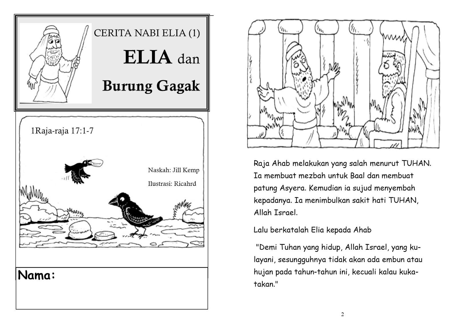 Untuk Anakanak Sekolah Minggu CERITA NABI ELIA 1 ELIA Dan