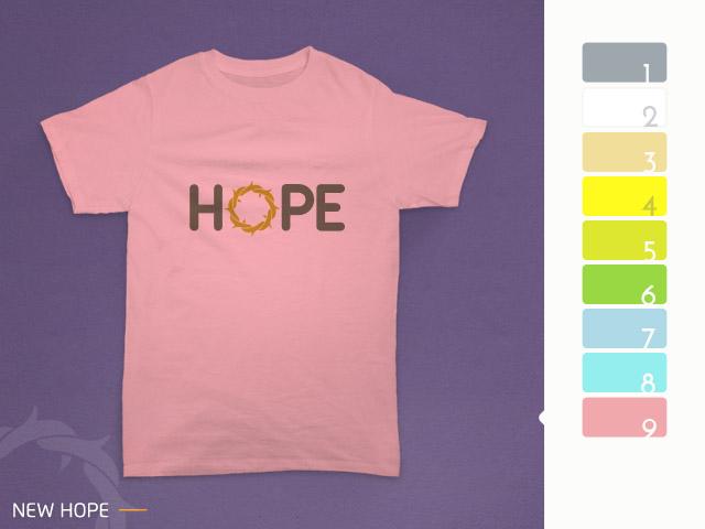 desain kaos hope diterapkan pada kain warna pink