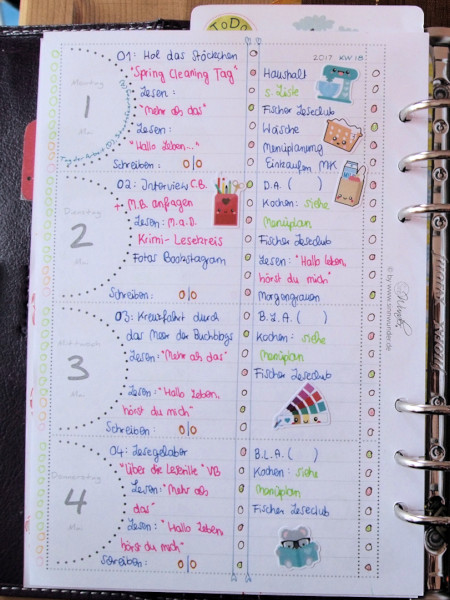 Plan with me: Montag bis Donnerstag