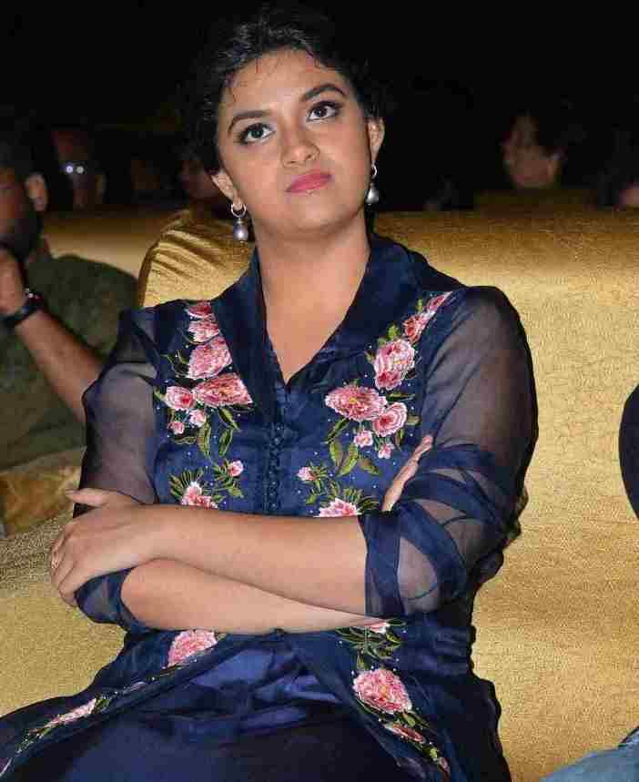 Keerthy Suresh Stills At Telugu Movie Audio Launch In Blue Dress