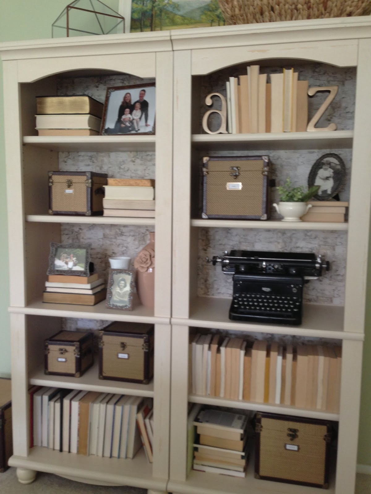 Home Made Modern: Restyled Bookcases Using Wrapping Paper