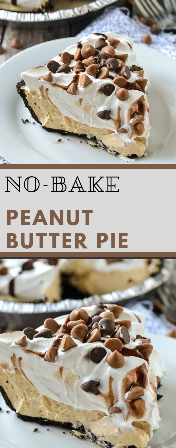 No-Bake Peanut Butter Pie #cake #dessert