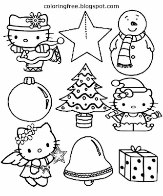 Snowman winter season clip art star bell Hello kitty easy coloring Christmas drawing for preschools