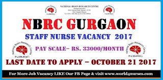 NBRC Gurgaon Staff Nurse Vacancy October 2017