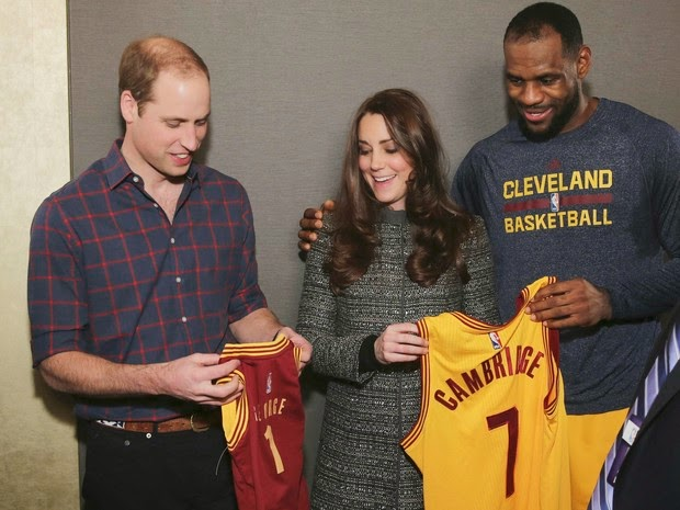 Prince William and Kate Middleton with LeBron James