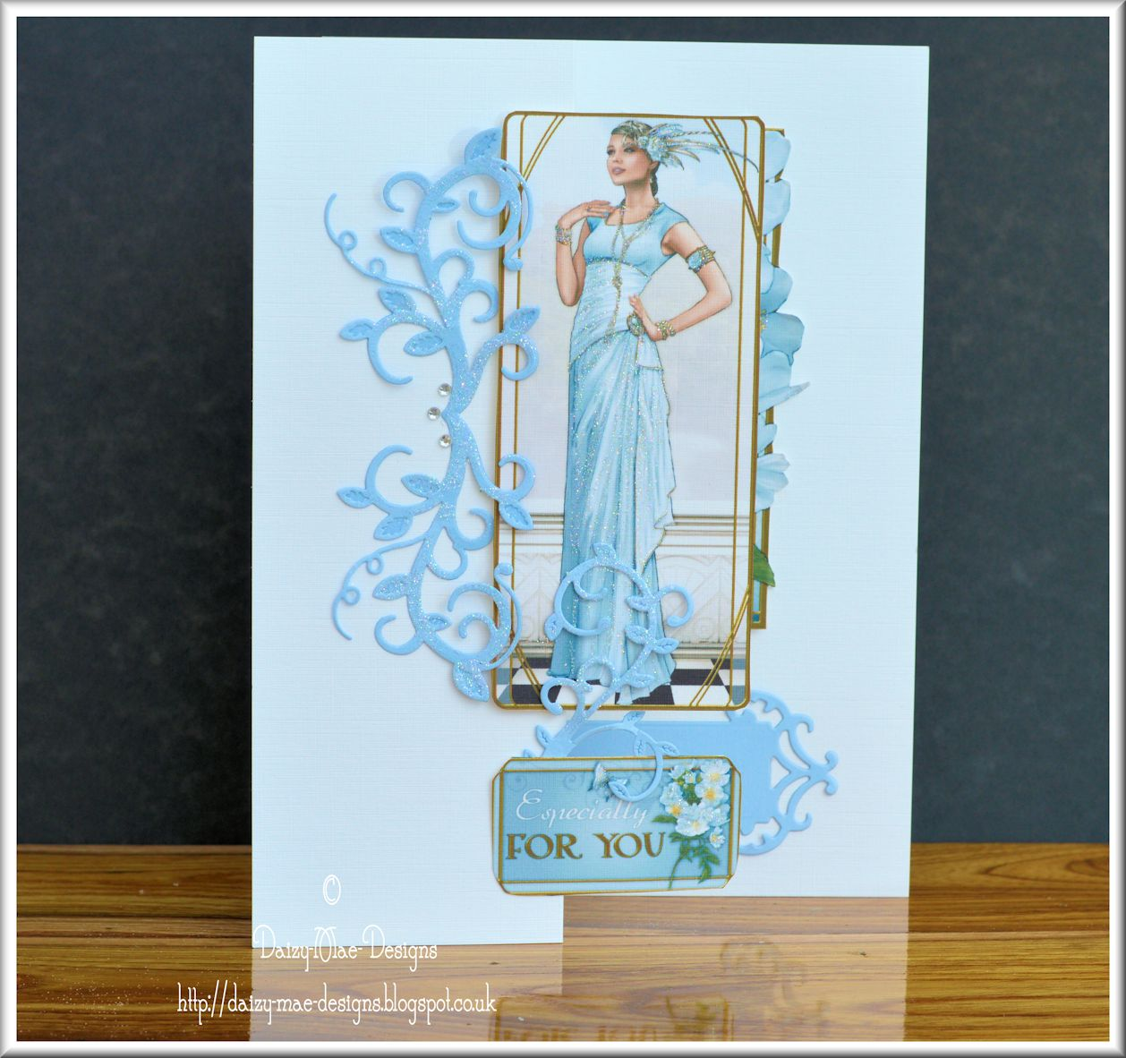Art Deco,Lady, blue,Spellbinders, CAS