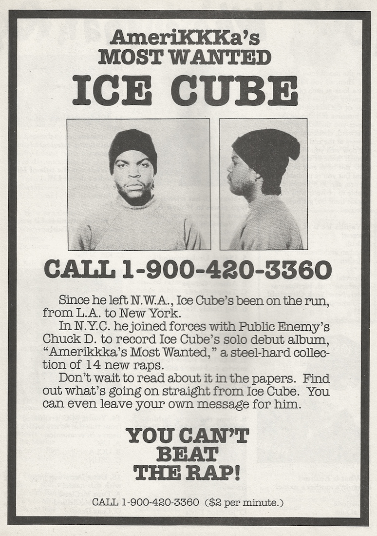Ice Cube AmeriKKKa's Most Wanted 1990 Advertisement