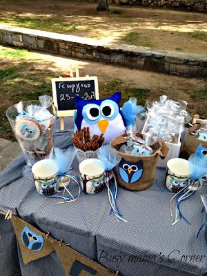 owl boy baptism candy bar
