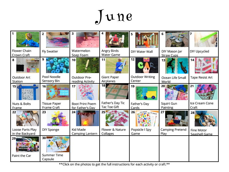 Free downloadable activity calendar for kids for the month of June from And Next Comes L