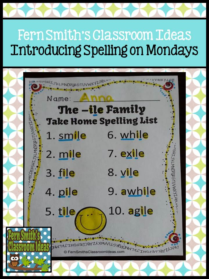 Fern Smith's Classroom Ideas How to Introduce Spelling Words on Monday