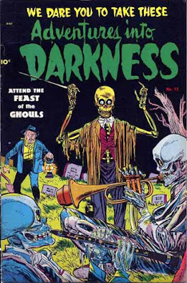A comic book cover depicts three skeletons in a graveyard playing instruments.