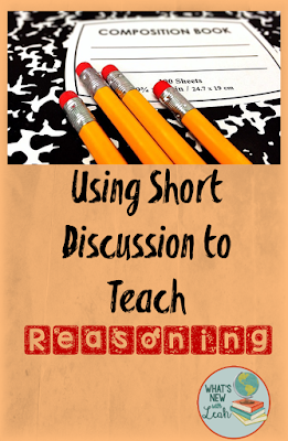 "Reasoning is a skill that I worry might be shoved in the background a little too often. In our current educational climate of standardized testing, multiple choice, and ""drill-and-kill,"" how can we teach reasoning? In this post I describe how I use short discussions on a consistent basis to teach reasoning and thinking skills."