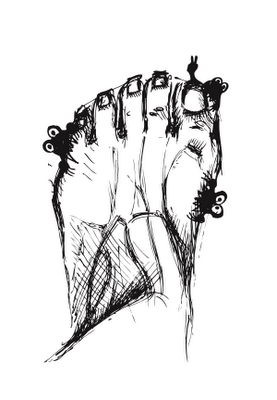 Ink drawing of evil itching foot bugs