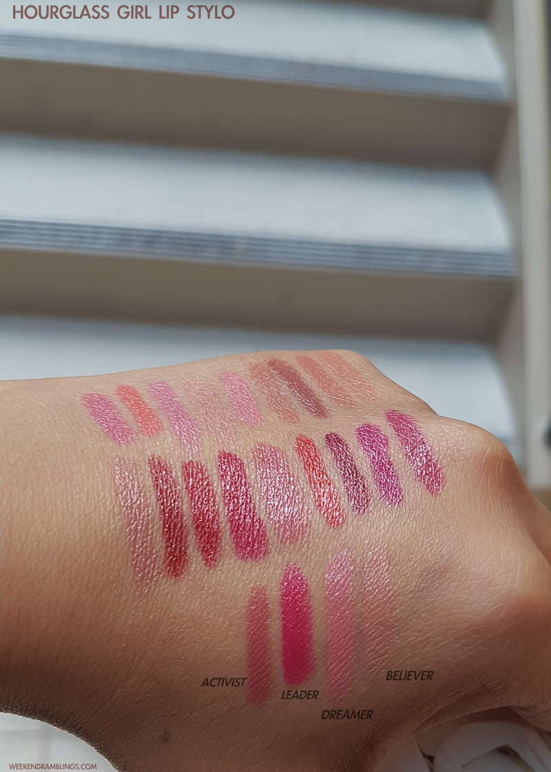 Hourglass Girl Lip Stylo - Swatches  Activist - Leader - Dreamer - Believer