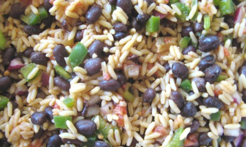 Green Beans and Rice Salad with Black Olives and Tomatoes