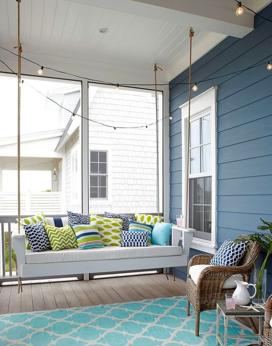Coastal Summer Porch with String Lights