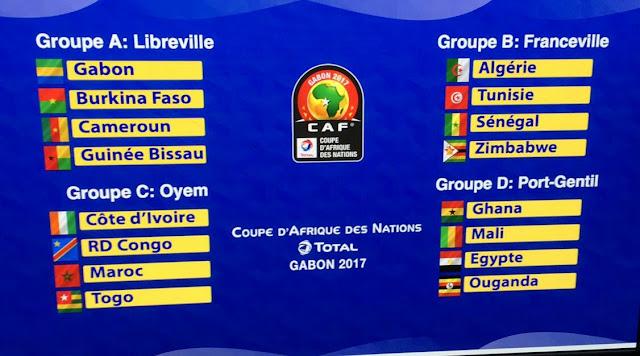 مجموعات بطولة الأمم الأفريقية بالجابون 2017