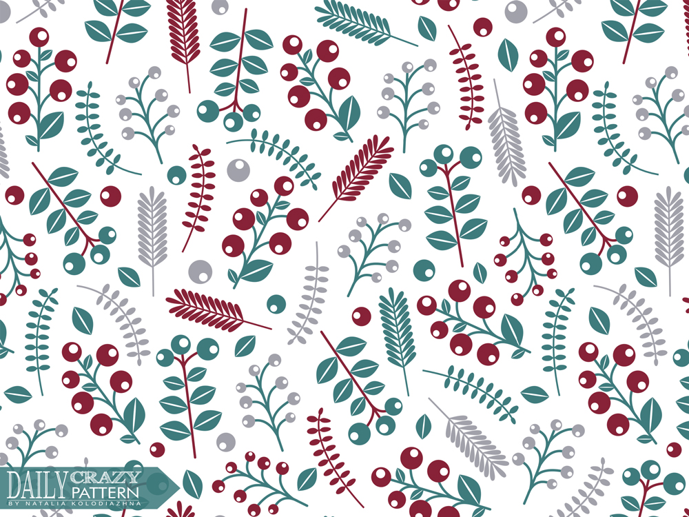 "Floral pattern with berries for ""Daily Crazy Pattern"" project"